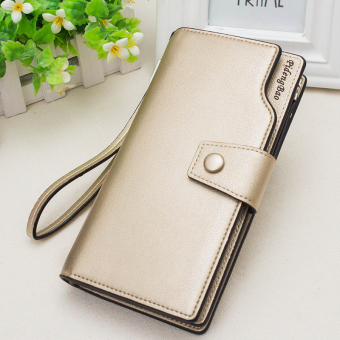 2017 New style Ms. wallet long section of Korean-style wild zip wallet multi-function large capacity hook clutch bag (Gold)