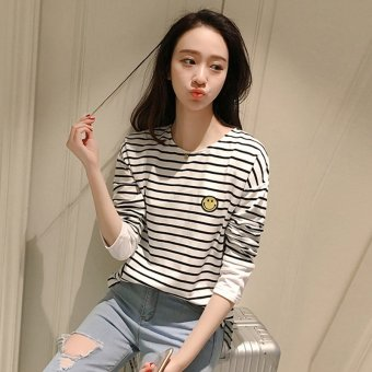 2017 spring korean version of the new girls college wind striped blouse long SLEEVE t-shirt printing female junior high school students