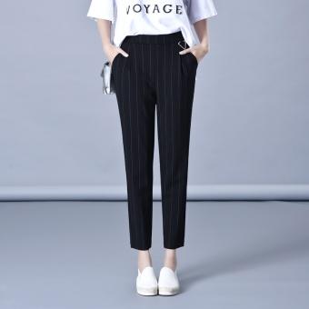 2017 spring models loose HarLan pants Female Summer black pants feet Slimming effect striped pants elastic waist pantyhose pants (Stripes)