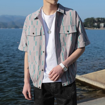 2017 spring models men's small fresh Striped short-sleeved shirt men New style men's Korean-style loose Half sleeve shirt (Green dot)