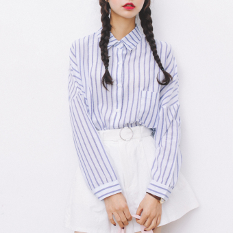 2017 spring new korean oversize wind and long sections simple loose leisure wild striped shirt big yards female (Blue stripes)
