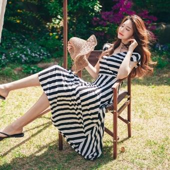 2017 summer korean version of the new women's temperament put on a large waist was thin v-neck short sleeve striped dress dress tide
