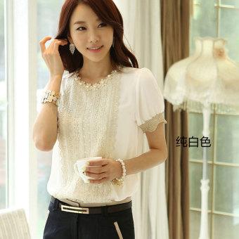 2017 summer new chiffon shirt female t-shirt women 'S summer short sleeve lace shirt bottoming shirt korean version of the coat