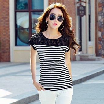 2017 summer new korean wild fashion lace dress large size bat sleeve striped loose short sleeve t-shirt female (Black)