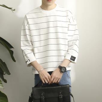 2017 summer new striped seven points men's short-sleeved t-shirt Korean version of tide Japanese student clothes short-sleeve men's(White) (White)