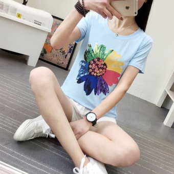 2017 summer New style Korean-style Print bottoming shirt femalesunflowers pattern body-shirt loose student short-sleeved t-shirtfemale (368 * Blue)