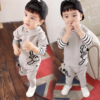 3 three boy's New style autumn sets of children's clothing (Mouse three sets of gray)