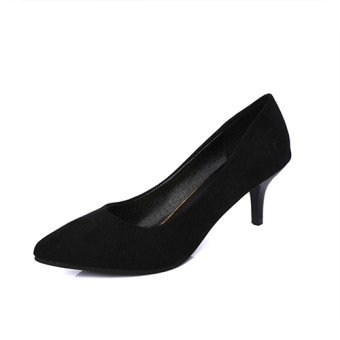 5cm female thin heeled semi-high heeled low-heeled shoes high-heeled shoes (Black (5cm light board))