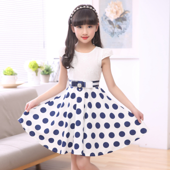 6 dress 3-12 years old cotton short-sleeved princess dress summer(Dark blue color) (Dark blue color)