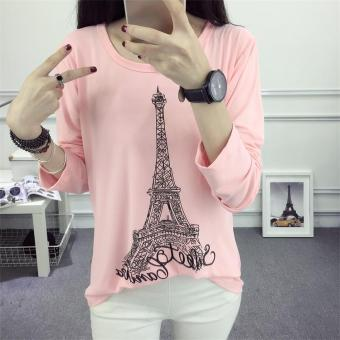 625 # Korean loose Paris tower T-shirt bottoming shirt (Pink)(Pink)