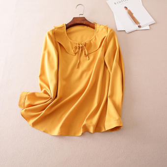 A617 Korean-style elegant lotus leaf edge autumn New style shirt (Ginger yellow)