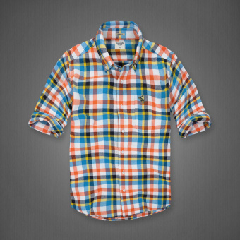 AF men's New style plaid tide cotton brushed long-sleeved shirt(Color plaid)