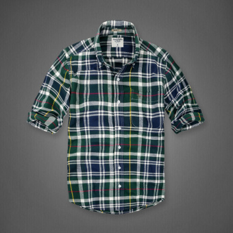 AF men's New style plaid tide cotton brushed long-sleeved shirt(Dark green plaid)