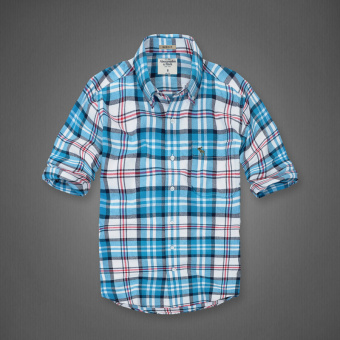 AF men's New style plaid tide cotton brushed long-sleeved shirt(Light blue plaid)