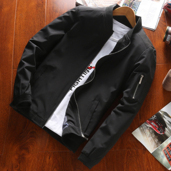 Air Force Korean-style men autumn and winter New style jacket red jacket (Black)