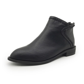 Autumn and Winter British style New style after zip short boots Martin boots (Black)