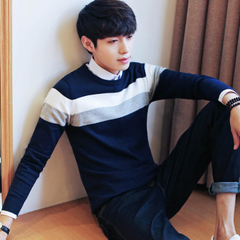 Autumn and Winter men's long-sleeved t-shirt (1701 dark blue color)