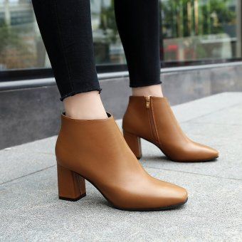 Autumn and Winter New style square head high-heeled shoes (Light Brown)