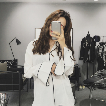 Autumn dress New style Korean-style chic retro loose pajamas-Lazy wind chiffon shirt long-sleeved shirt female Top tide (White)