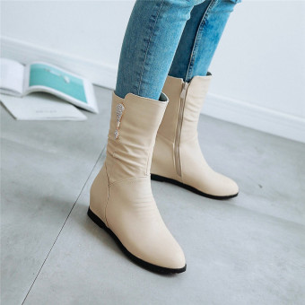 Autumn New style Liang Zuan Side Zipper Martin boots (Beige)