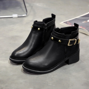 Autumn New style Round riveted semi-high heeled short boots (Black)