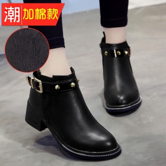 Autumn New style Round riveted semi-high heeled short boots (Black plus Cotton)