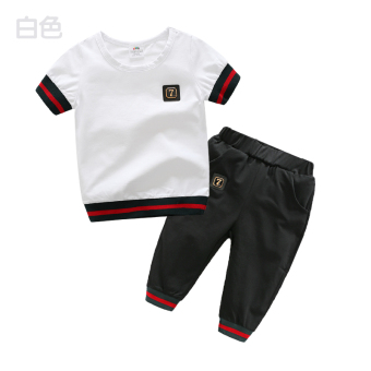 Baby tz-3468 pants short-sleeved two-piece sets summer (White) (White)