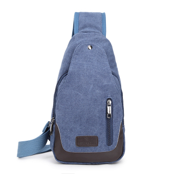 Bag 2017 New style men's chest pack canvas bag messenger bag man bag shoulder bag Korean-style small backpack casual pockets (Double zip blue)