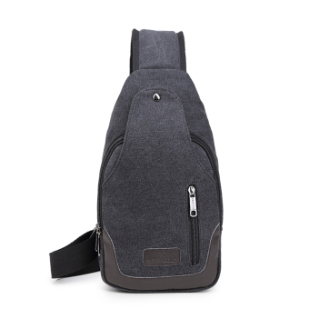 Bag 2017 New style men's chest pack canvas bag messenger bag man bag shoulder bag Korean-style small backpack casual pockets (Double zip BLUE BLACK)
