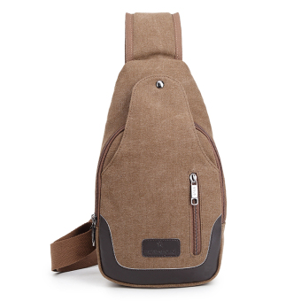 Bag 2017 New style men's chest pack canvas bag messenger bag man bag shoulder bag Korean-style small backpack casual pockets (Double zip deep coffee)