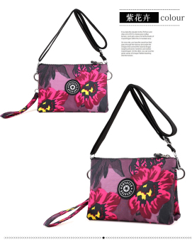 Bag women nylon casual bag nylon canvas bag handbag shoulder bagmummy messenger bag multifunction small bag messenger (Purpleflower)