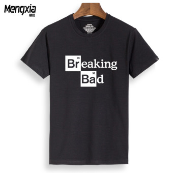 Bamboo cotton US drama surrounding the Breaking Bad non-toxicdivision coquettish lawyer short-sleeved t-shirt men summerEuropean and American version of Loose and plus-sized (Black bad)