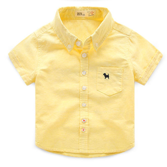 Baobao New style boy's Cotton Short sleeved white shirt (Yellow puppy short sleeved shirt)