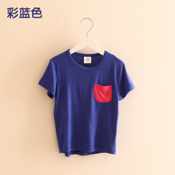Baobao tx-4930 New style children's base shirt T-shirt (Color Blue)