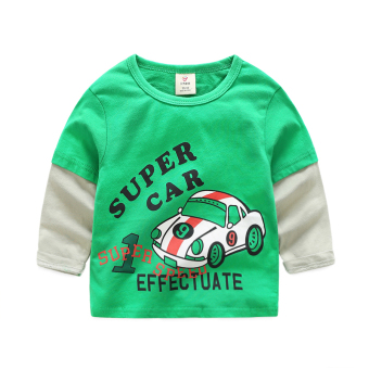 Baobao tx-7961 New style children fight sleeve Top T-shirt (Green)