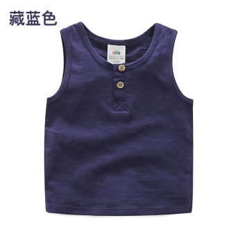 Baobao tx-8353 solid New style children's T-shirt vest (Navy Blue)