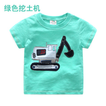 Baobao tx-8689 casual New style children's round neck Top T-shirt (Green to dig soil Machine)