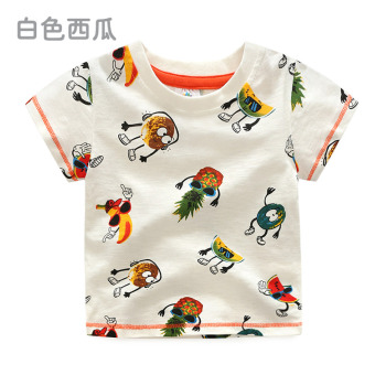 Baobao tx-8689 casual New style children's round neck Top T-shirt (White Watermelon)