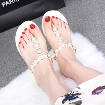Beach New style Pearl non-slip fashion sandals and slippers Korean-style slippers (Ivory white) (Ivory white)