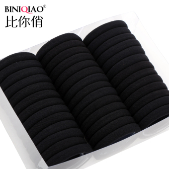 Black seamless High Elastic tousheng hair Ring (A full black large [40])
