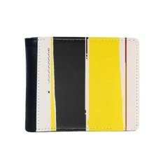black yellow rectangle western style abstract art decorative painting flip bifold faux leather wallet multi
