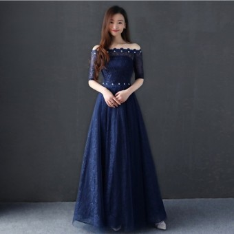 Blue Annual Meeting hosted bridesmaid dress (Dark blue color) (Dark blue color)
