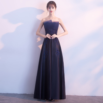 Boob tube top New style party wedding dress evening dress ([Dark blue color] Long)