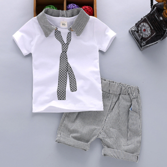 Boy children's clothing male baby short-sleeved two-piece setssummer (Summer fake tie short-sleeved sets [White]) (Summer faketie short-sleeved sets [White])