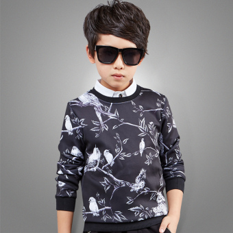 Boy's long-sleeved New style round neck t-shirt children's printed T-shirt