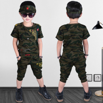 Boys camouflage short-sleeved suit 2017 New style summer children'sclothing 5 cotton children's small children 6 Short sleeve uniforms8-9-year-old