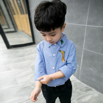 Boys shirt long-sleeved 2017 New style baby shirt1-2-3-4-5-6-year-old baby small children casual bottoming shirt(Blue)