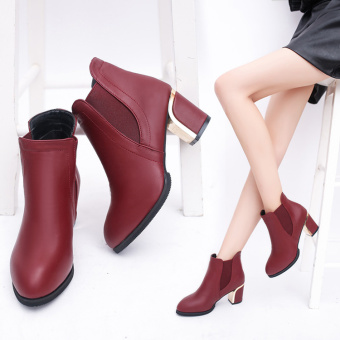 British style autumn and winter New Style High-heeled Martin boots (Wine red color)