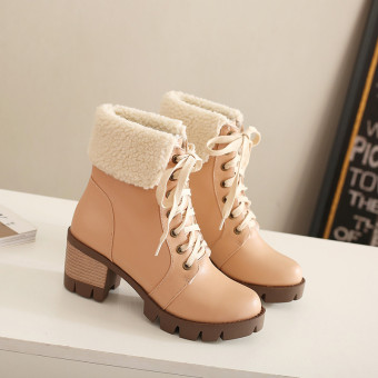 British style autumn and winter New style suede Martin boots (Beige)