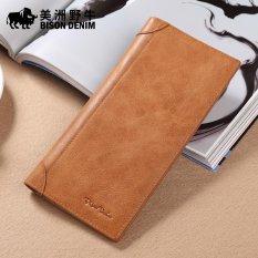 ... Long Source · Zipper Clutch Purse Black Intl Bison Denim Italian Leather Men Wallet Genuine Leather Business Source Buffalo